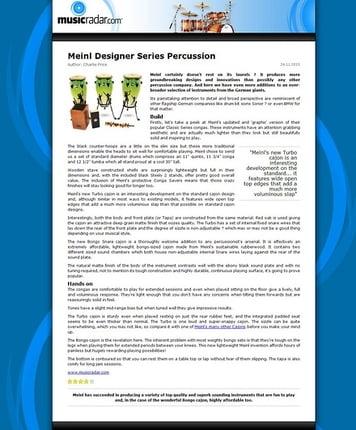 MusicRadar.com Meinl Designer Series Percussion