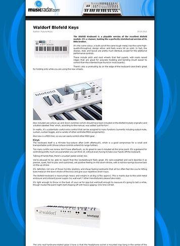 MusicRadar.com Waldorf Blofeld Keys