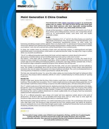MusicRadar.com Meinl Generation X China Crashes