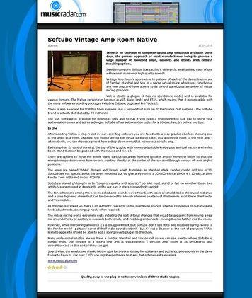 MusicRadar.com Softube Vintage Amp Room Native