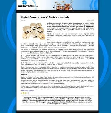 MusicRadar.com Meinl Generation X Series cymbals