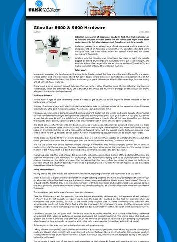 MusicRadar.com Gibraltar 8600 & 9600 Hardware