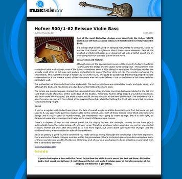 MusicRadar.com Hofner 500/1-62 Reissue Violin Bass