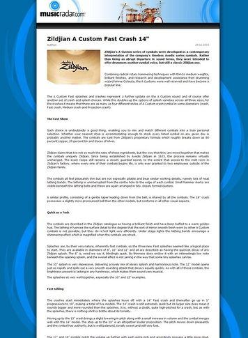 MusicRadar.com Zildjian A Custom Fast Crash 14
