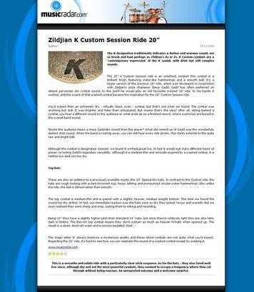 MusicRadar.com Zildjian K Custom Session Ride 20