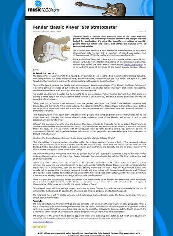 MusicRadar.com Fender Classic Player '50s Stratocaster