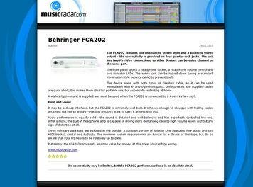 MusicRadar.com Behringer FCA202