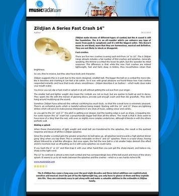 MusicRadar.com Zildjian A Series Fast Crash 14