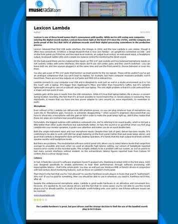MusicRadar.com Lexicon Lambda
