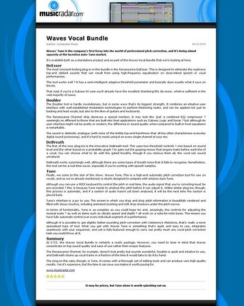 MusicRadar.com Waves Vocal Bundle