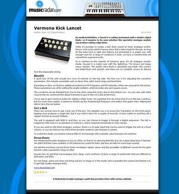 MusicRadar.com Vermona Kick Lancet