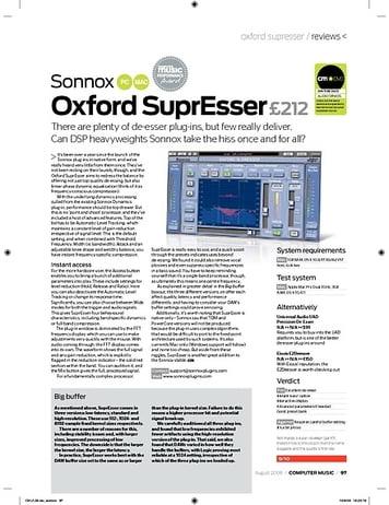 Computer Music Sonnox Oxford SuprEsser