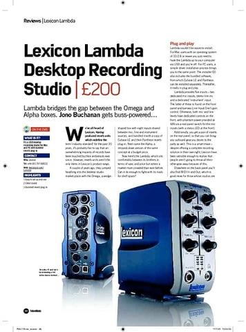 Future Music Lexicon Lambda Desktop Recording Studio