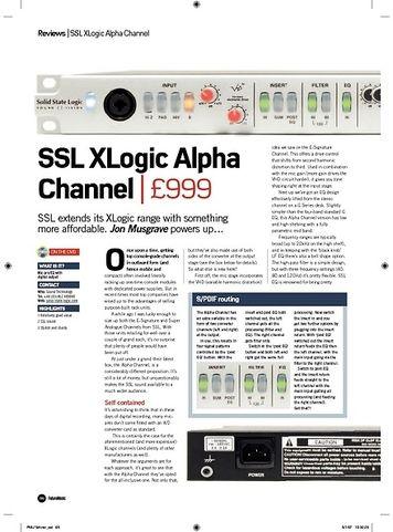 Future Music SSL XLogic Alpha Channel