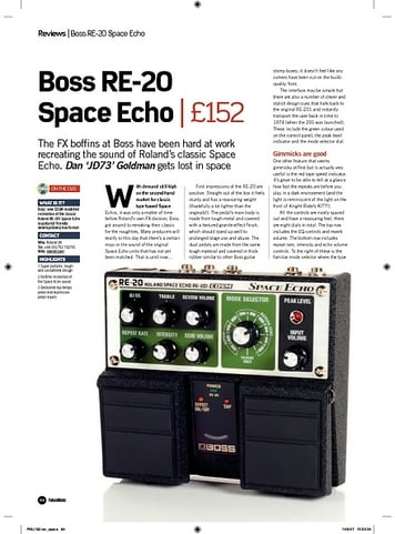 Future Music Boss RE20 Space Echo
