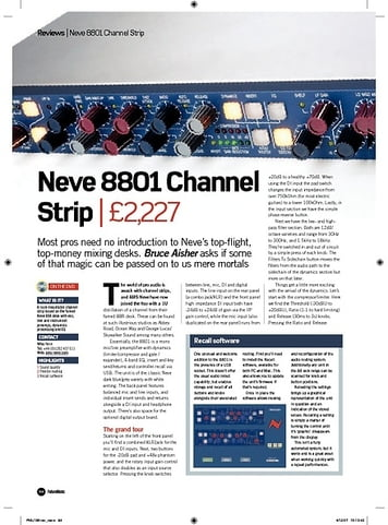 Future Music Neve 8801 Channel Strip