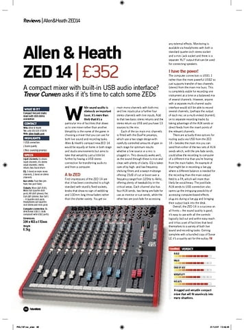 Future Music Allen and Heath ZED 14