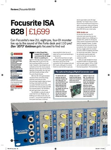 Future Music Focusrite ISA 828