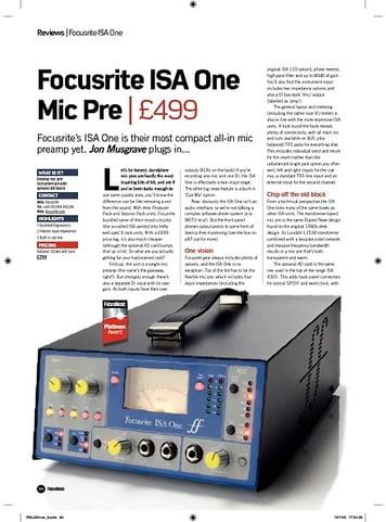Future Music Focusrite ISA One Mic Pre
