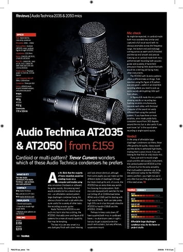 Future Music Audio Technica AT2035 and AT2050