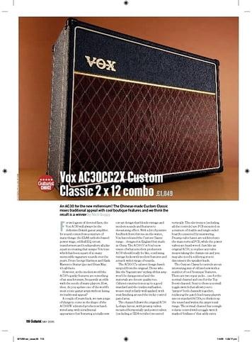 Guitarist Vox AC30CC2X Custom Classic 2 x 12 combo