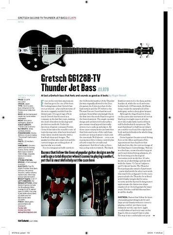 Guitarist Gretsch G6128BTV Thunder Jet Bass