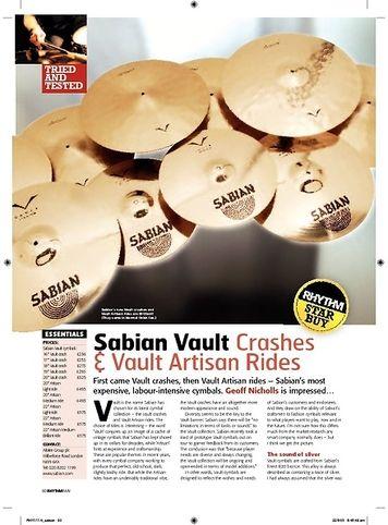 Rhythm Sabian Vault Crashes and Vault Artisan Rides