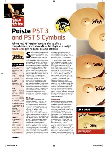 Rhythm Paiste PST 3 and PST 5 Cymbals