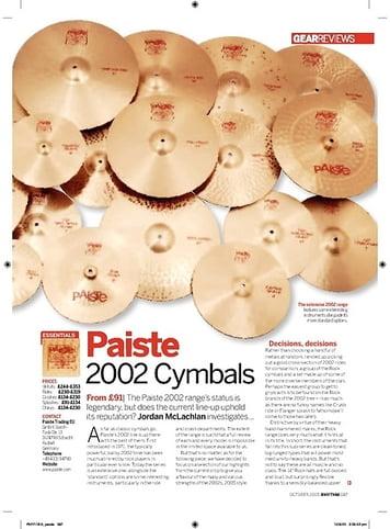 Rhythm Paiste 2002 Cymbals