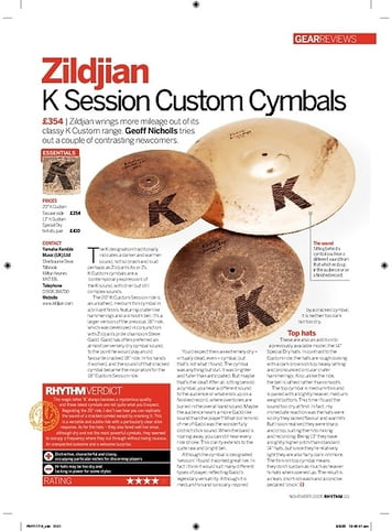 Rhythm Zildjian K Session Custom Cymbals