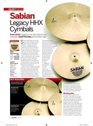 Rhythm Sabian Legacy HHX Cymbals