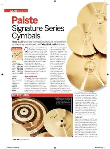 Rhythm Paiste Signature Series Cymbals