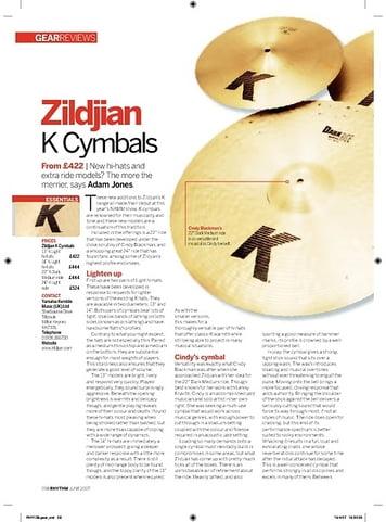 Rhythm Zildjian K Cymbals