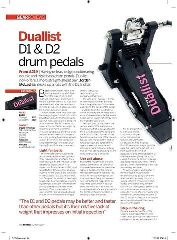 Rhythm Duallist D1 and D2 drum pedals