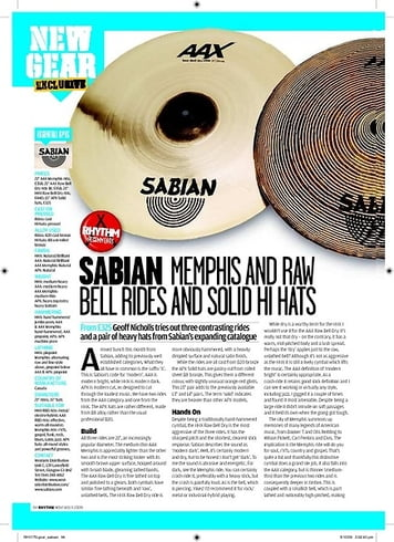Rhythm SABIAN MEMPHIS AND RAW BELL RIDES AND SOLID HI HATS