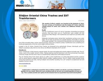 MusicRadar.com Zildjian Oriental China Trashes and ZXT Trashformers