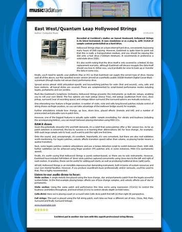 MusicRadar.com East West/Quantum Leap Hollywood Strings