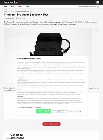 Bonedo.de Thomann Producer Backpack