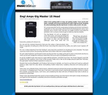 MusicRadar.com Engl Amps Gig Master 15 Head