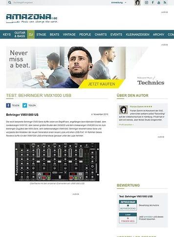 Amazona.de Test: Behringer VMX1000 USB
