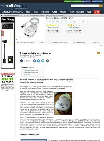 Audiofanzine.com Behringer Guitar Link UCG102