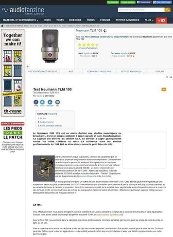 Audiofanzine.com Neumann TLM 103