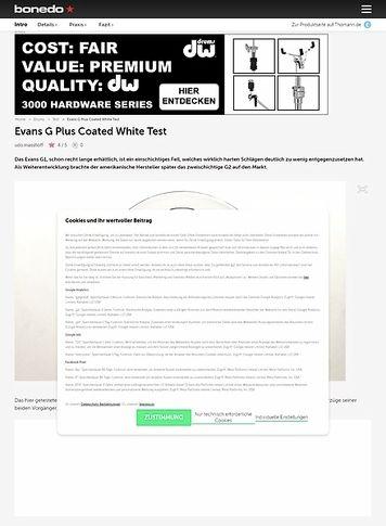 Bonedo.de Evans G Plus Coated White