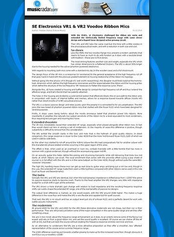 MusicRadar.com SE Electronics VR1 & VR2 Voodoo Ribbon Mics