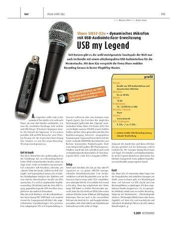 Keyboards Shure SM58-X2u Dynamisches Mikrofon mit USB-Audiointerface-Erweiterung