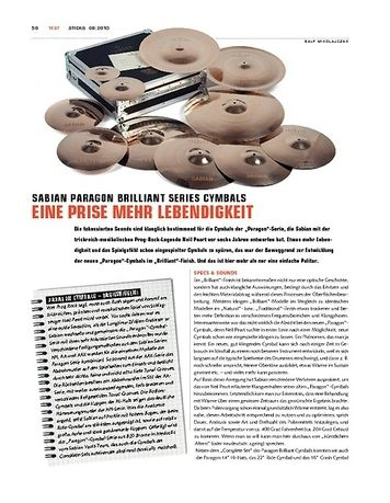 Sticks Sabian Paragon Brilliant Cymbals