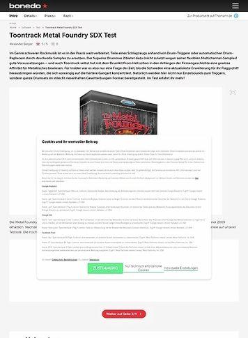 Bonedo.de Toontrack Metal Foundry SDX