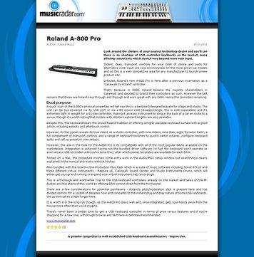 MusicRadar.com Roland A-800 Pro