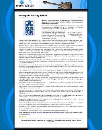 MusicRadar.com Wampler Paisley Drive