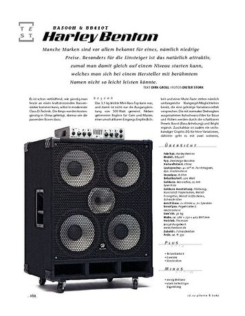 Gitarre & Bass Harley Benton BA500H & BB410T, Bass-Anlage